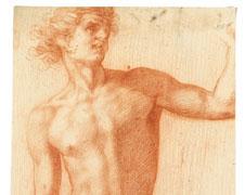 Homme nu, debout, vu de face, le bras gauche levé, regardant vers la droite