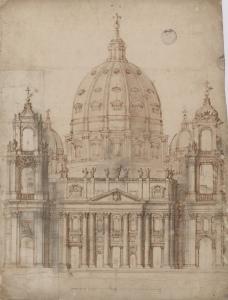 18 - G.L. Bernini, Proposta alternativa per facciata San Pietro, 1645, Città del Vaticano, BAV